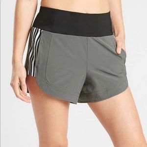 Athleta Ascend High Waist Shorts Herb Olive Stripe